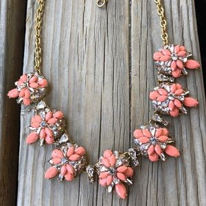 J Crew Coral Pink Floral Crystal Beaded Necklace!